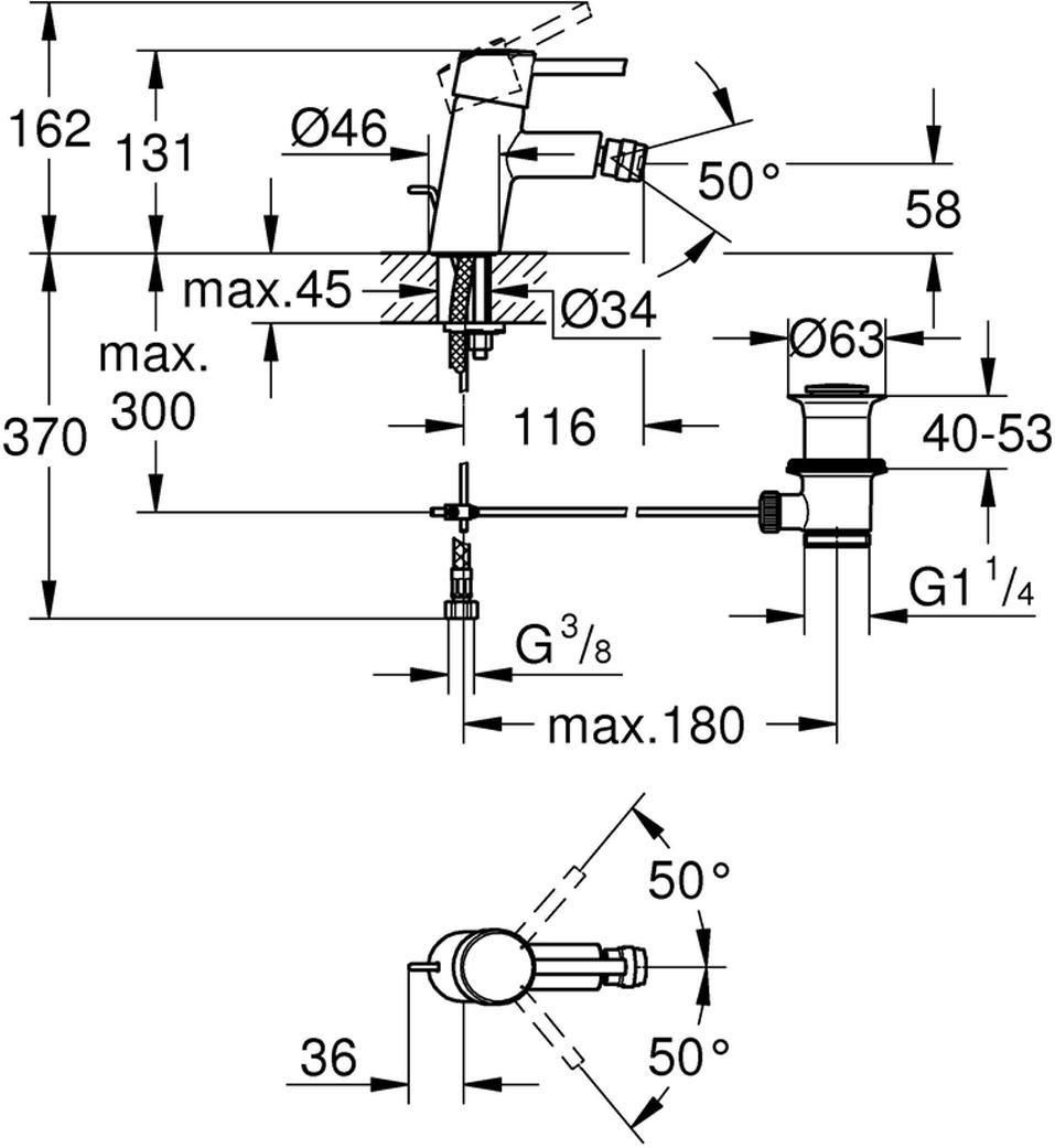 """Смеситель для биде """"Concetto new"""" со сливным гарнитуром.  Монтаж на одно отверстие. У смесителя металлический рычаг,  керамический картридж 28 мм.  Смеситель с ограничителем температуры, хромированная поверхность.Быстрая монтажная система.Аэратор с шаровым шарниром. Сливной гарнитур 1 1/4"""", гибкая подводка, класс шума I по DIN 4109."""