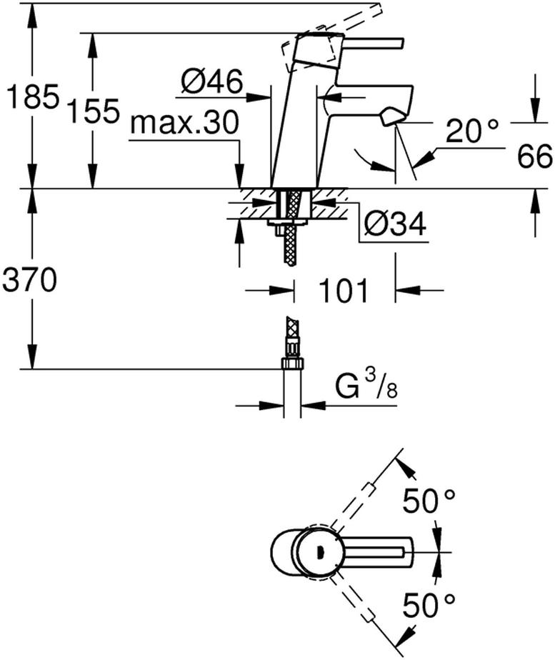 монтаж на одно отверстиеметаллический рычагGROHE SilkMove керамический картридж 28 ммрегулировка расхода водыс ограничителем температурыGROHE StarLight хромированная поверхностьGROHE EcoJoy SpeedClean аэратор с ограничением расхода воды 5,7 л/минGROHE QuickFix быстрая монтажная системагладкий корпусгибкая подводкаминимальное давление 1,0 баркласс шума I по DIN 4109
