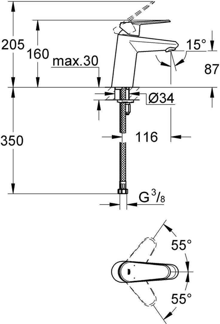 металлический рычагмонтаж на одно отверстиеGROHE SilkMove керамический картридж 35 ммрегулировка расхода водывозможность установки мин. расхода 2,5 л/мин.ограничитель температурыGROHE StarLight хромированная поверхностьGROHE EcoJoy SpeedClean аэратор с ограничением расхода воды 5,7 л/минGROHE QuickFix Plus Монтажная система с центрирующей направляющейгладкий корпусгибкая подводкаминимальное давление 1,0 баркласс шума I по DIN 4109
