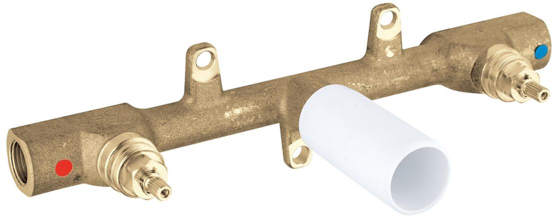 для смесителя для раковины на 3 отверстиядля скрытого монтажабез комплекта верхней монтажной частиглубина монтажа 30-75 ммDR-латуньшаблон для монтажа
