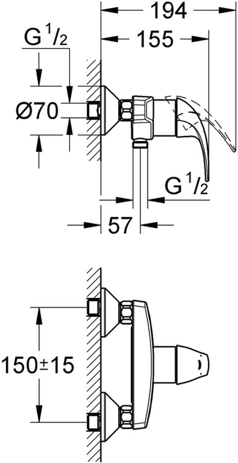 """Смеситель для душа """"BauCurve"""". Подходит настенный монтаж. У смесителя металлический рычаг, керамический картридж 46 мм. Хромированная поверхность.Есть регулировка расхода воды, возможность установки минимального расхода 2,5 л/мин. Отвод для душа снизу 1/2"""". Скрытые S-образные эксцентрики. Отражатель из металла. Дополнительный ограничитель температуры."""