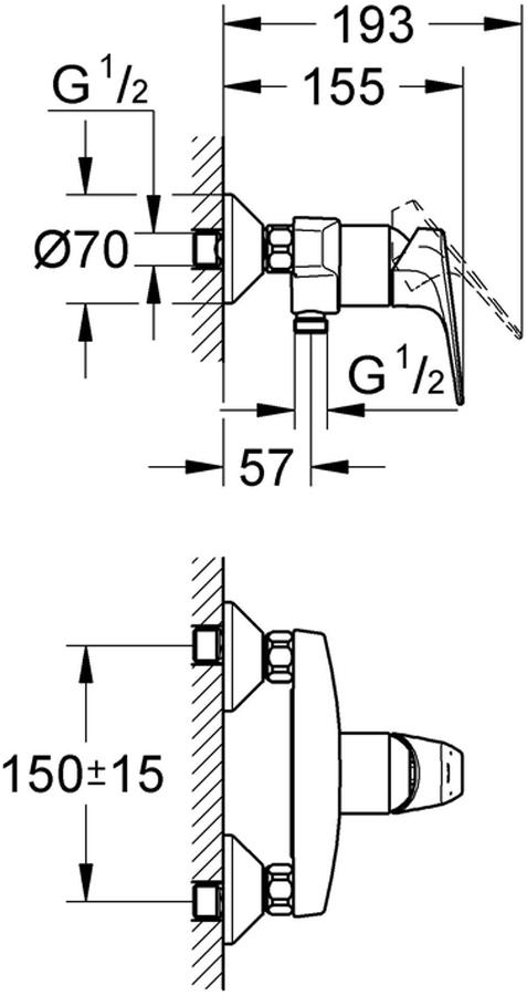 """Смеситель для душа  """"BauFlow"""". Подходит настенный монтаж.  У смесителя металлический рычаг, керамический картридж диаметром 46 мм.  Хромированная поверхность.  Есть регулировка расхода воды, регулируемый минимальный расход воды 2,5 л / мин. Отвод для душа снизу 1/2 со встроенным обратным клапаном. Скрытые S-образные эксцентрики.  С защитой от обратного потока.  Дополнительный ограничитель температуры."""