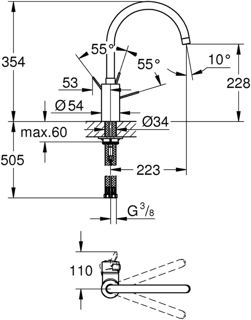 """Смеситель для мойки """"Eurosmart Cosmopolitan"""" с высоким изливом. Монтаж на одно отверстие. У смесителя хромированная поверхность, керамический картридж 35 мм. Аэратор, регулировка расхода воды. Поворотный трубкообразный излив. Выбор радиуса поворота: 0° / 150° / 360°. Гибкая подводка. Система быстрого монтажа."""