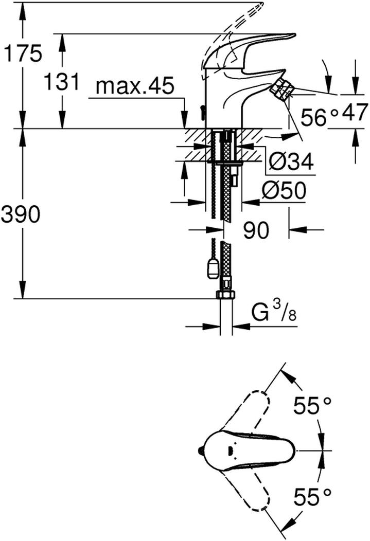 """Смеситель для биде """"Euroeco"""", с цепочкой. Монтаж на одно отверстие. У смесителя металлический рычаг, керамический картридж 35 мм. У смесителя хромированная поверхность. Ограничитель потока 9 л/мин. Система быстрого монтажа. Аэратор с шаровым шарниром. Гибкая подводка.  Есть дополнительный ограничитель температуры. Класс шума I по DIN 4109."""