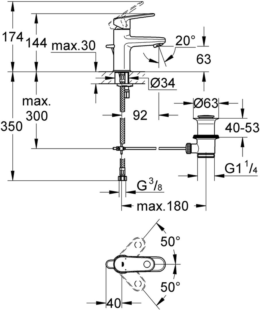 """Монтаж на одно отверстие.Металлический рычаг.GROHE SilkMove керамический картридж 28 мм.GROHE StarLight хромированная поверхность.Система быстрого монтажа.Регулируемый аэратор.Сливной гарнитур 11/4"""".Гибкая подводка."""