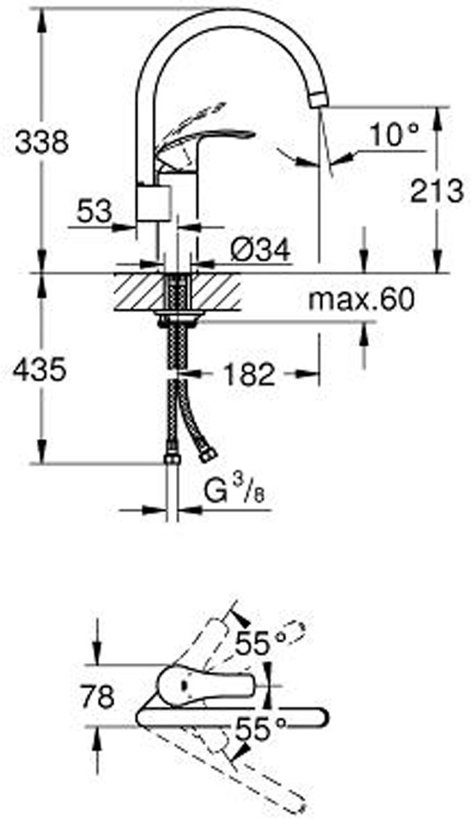 """Смеситель для мойки """"Eurosmart"""" с высоким изливом. Монтаж на одно отверстие. У смесителя хромированная поверхность, керамический картридж 35 мм. Встроенный ограничитель температуры. Аэратор. Регулировка расхода воды. Поворотный трубкообразный излив. Регулируемый радиус поворота 0° / 150° / 360°. Гибкие соединительные шланги. Система быстрого монтажа. Минимальное давление 1,0 бар."""