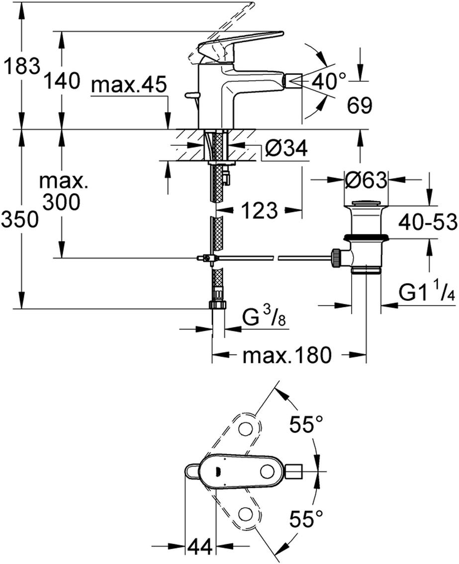 """Смеситель для биде """"Europlus New"""", со сливным гарнитуром. Монтаж на одно отверстие. У смесителя металлический рычаг, керамический картридж 35 мм. Есть регулировка расхода воды, возможность установки мин. расхода 2,5 л/мин. Ограничитель температуры. Хромированная поверхность.  Монтажная система с центрирующей направляющей/ Аэратор с шаровым шарниром, сливной гарнитур 1 1/4"""", гибкая подводка,"""