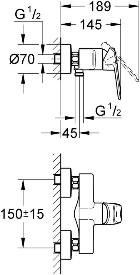 """Смеситель для душа """"Europlus New"""". Подходит настенный монтаж. У смесителя металлический рычаг,  керамический картридж диаметром 46 мм, ограничитель температуры. Хромированная поверхность. Есть регулировка расхода воды, возможность установки минимального расхода 2,5 л/мин. Отвод для душа снизу 1/2"""" со встроенным обратным клапаном. Скрытые S-образные эксцентрики. С защитой от обратного потока. Минимальное давление 1,0 бар."""