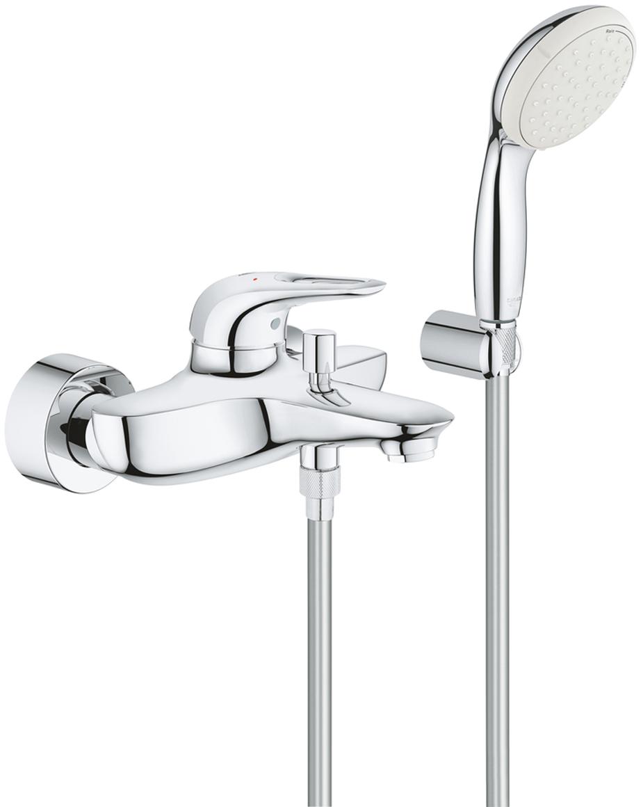 Смеситель для ванны Eurostyle, с душевым набором. 3359230A смеситель для ванны grohe eurosmart new с душевым набором настенный держатель ручной душ хром