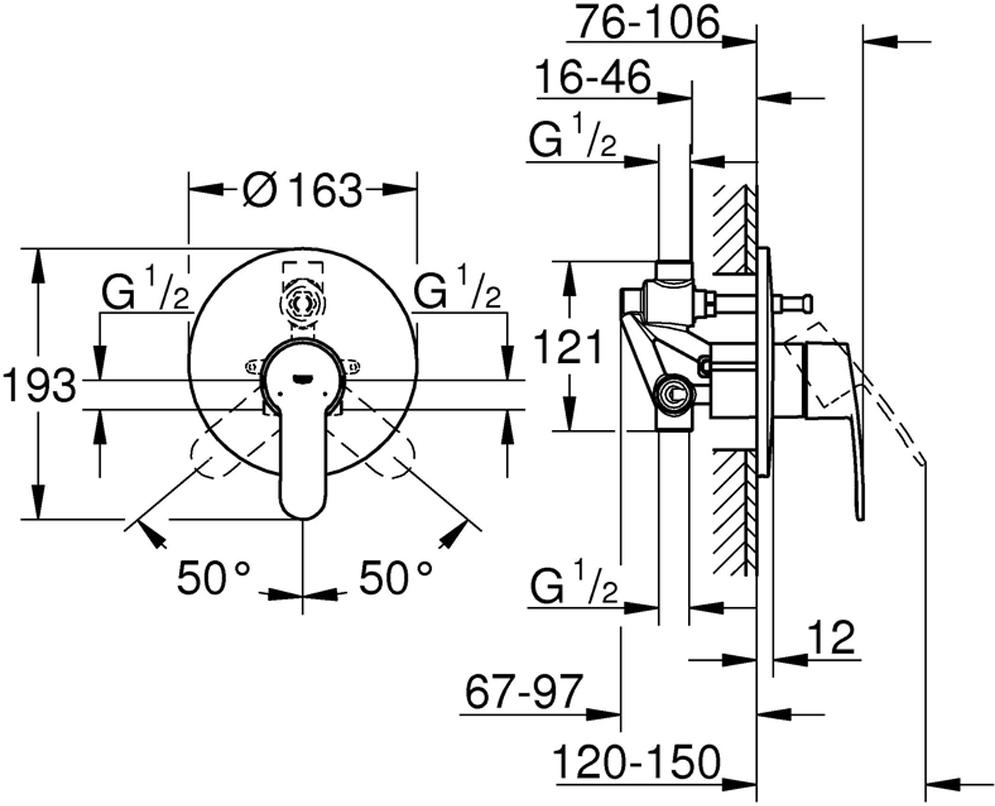 """Смеситель для ванны  """"Eurostyle Cosmopolitan"""". Подходит для скрытого монтажа, керамический картридж диаметром 46 мм. Хромированная поверхность.  Смеситель включает в себя: комплект готового монтажа; корпус встраиваемого смесителя; регулировка расхода воды, возможность установки минимального расхода 2,5 л/мин.; металлический рычаг; уплотнитель розетки и рычага; металлическая розетка, винтовое крепление; дополнительный ограничитель температуры."""