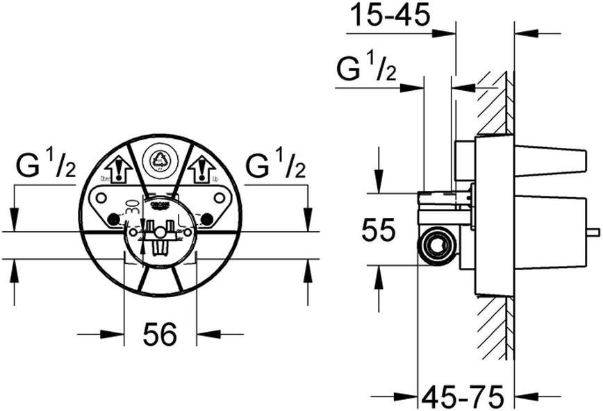 """Смеситель для душа """"Ondus"""". Комплект без верхней монтажной части. Подходит для скрытого монтажа. У смесителя керамический картридж диаметром 46 мм. Есть регулировка расхода воды. Отвод сверху и снизу 1/2"""". Правая резьба сбоку. Есть крепежные петли."""
