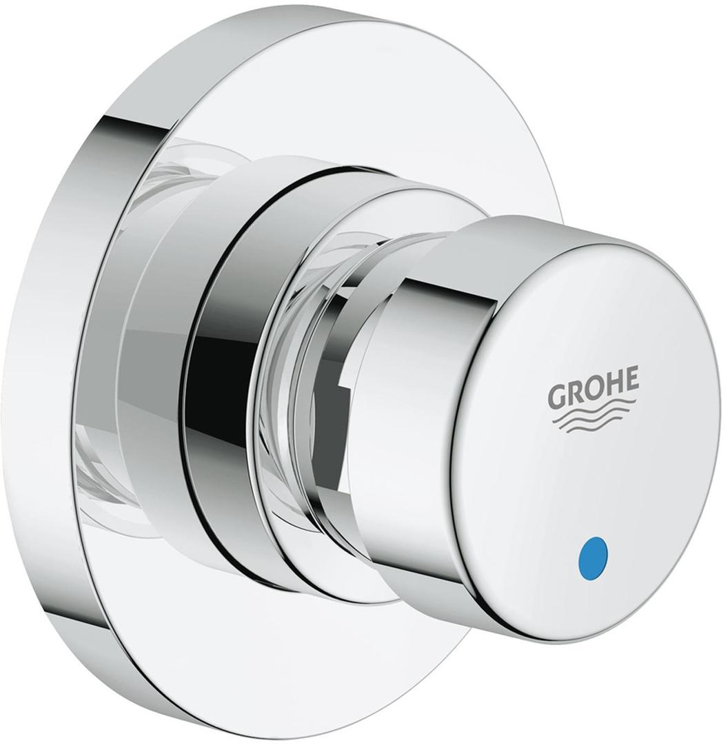 Вентиль автоматический проходной GROHE  для настенных смесителей со встроенным;механизмом;для холодной или смешанной воды;маркировка голубая/красная;GROHE StarLight хромированная поверхность3 режима: короткий - средний- длинный (заводская настройка: короткий), примерно 7, 15, 30 сек. (зависит от давления);минимальное давление 1,0 бар.