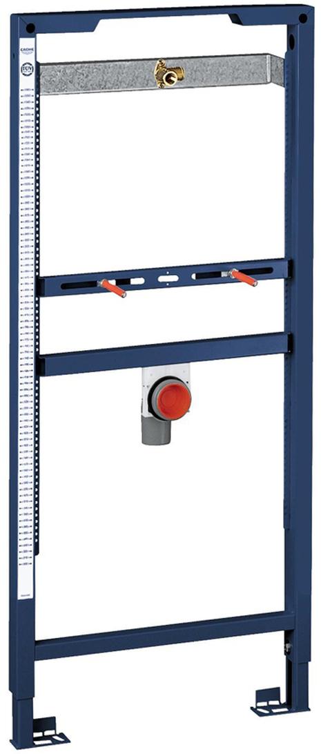 Для монтажа перед стеной или стенной перегородкой.Самонесущая стальная рама с порошковым напылением.Подготовлена для облицовки.Регулируемые по высоте подключения к объекту.Для одиночного или рядного монтажа.Быстрая регулировка по высоте.Крепежный материал.Проверено -TUEV.Смывное колено, выдерживающее высокую температуру, DN 50.Болты-держатели M8, с креплением для керамики.Подключение для впуска и впускной гарнитур.Без принадлежностей для монтажа.Перед стеной.Без смесителя.1.13 и 1.30 м. инсталляционная высота.