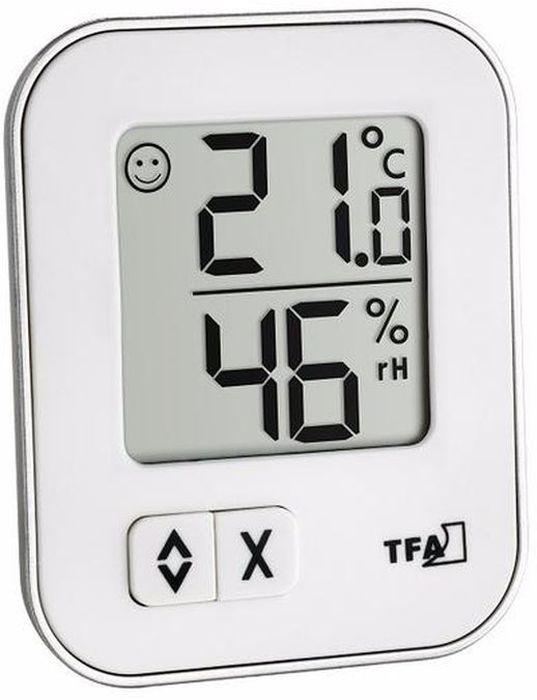 """TFA """"Moxx"""" 30.1043.02 Термометр электронный белый Особенности: Большой ЖК-дисплей Измерение температуры воздуха в помещении и на улице"""