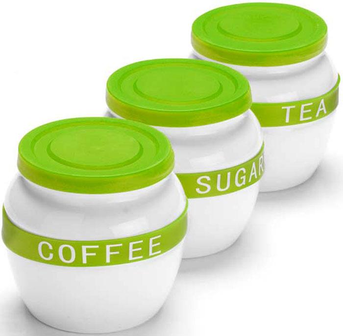 Набор банок для сыпучих продуктов Mayer & Boch, цвет: зеленый, 700 мл, 3 шт. 21638-2