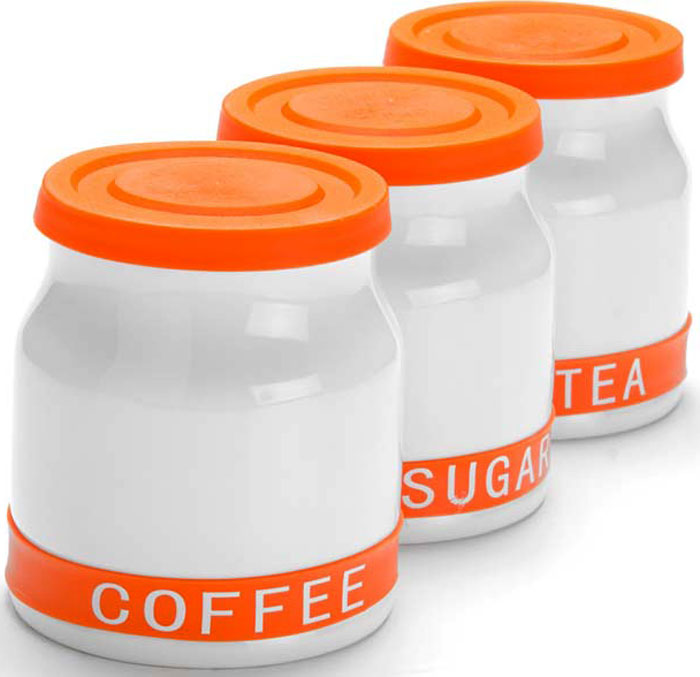 Набор банок для сыпучих продуктов Mayer & Boch, цвет: оранжевый, 800 мл, 3 шт. 21640-1