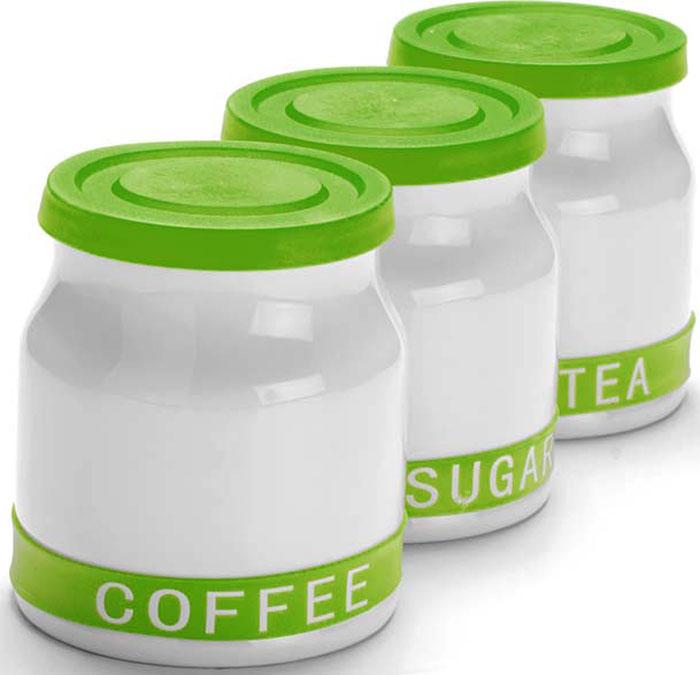 Набор банок для сыпучих продуктов Mayer & Boch, цвет: зеленый, 800 мл, 3 шт. 21640-221640-2Набор MAYER&BOCH из 3-х банок для сыпучих продуктов выполнен из качественной керамики и декорирован яркой цветной полосой с надписями COFFEE, SUGAR, TEA. Банки предназначены для хранения кофе, сахара и чая. Цветные силиконовые крышки плотно закрываются и препятствуют проникновению влаги и посторонних запахов внутрь. Красочный, оригинально оформленный набор банок украсит любую кухню. Изделия не впитывают запахи и легко моются.