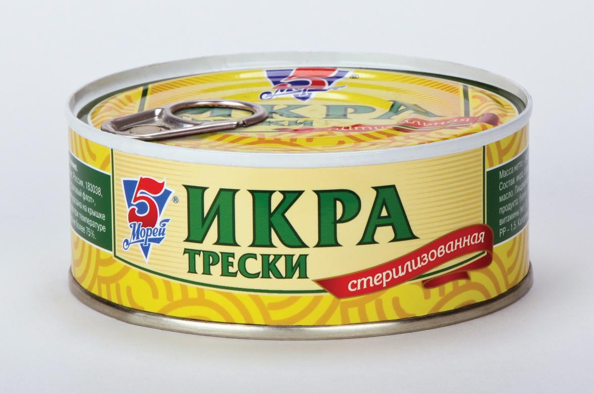 5 Морей Икра трески натуральная, 240 г kinder mini mix подарочный набор 106 5 г