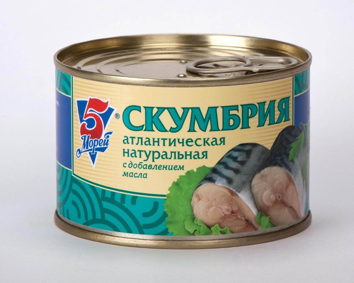 5 Морей Скумбрия атлантическая натуральная с добавлением масла, 250 г скумбрия 5 морей атлантическая натуральная с добавлением масла