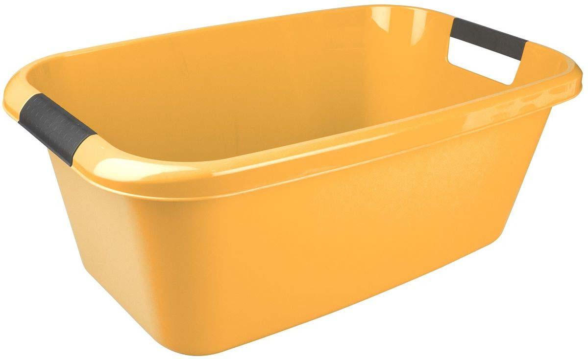 Таз Plast Team Lica, с ручками, прямоугольный, цвет: желтый, 20 л контейнер пищевой plast team bico цвет лайм с крышкой 600 мл