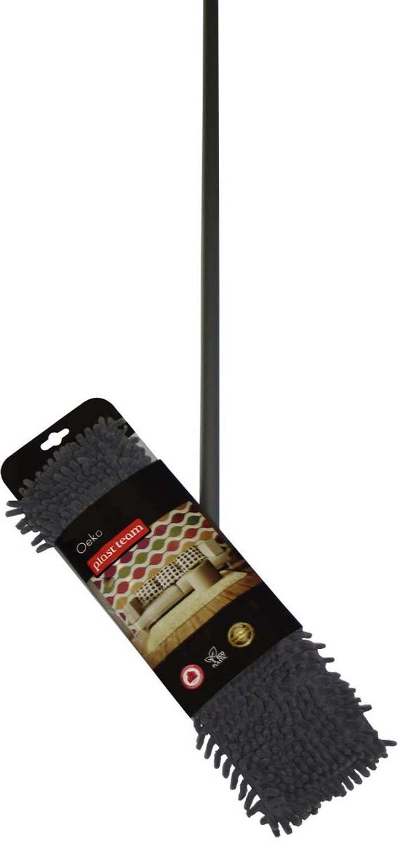 Швабра универсальная Plast Team Экстра, с рукояткой, цвет: серый, длина 120 смPT9012СЕР-12Прочное крепление насадки на основе швабры прослужит долгое время, а сама насадка из микрофибры справится с уборкой разных поверхностей (кафель, мрамор, плитка). Структура ткани и волокна прекрасно собирает воду и не оставляет неприятных разводов на полу.