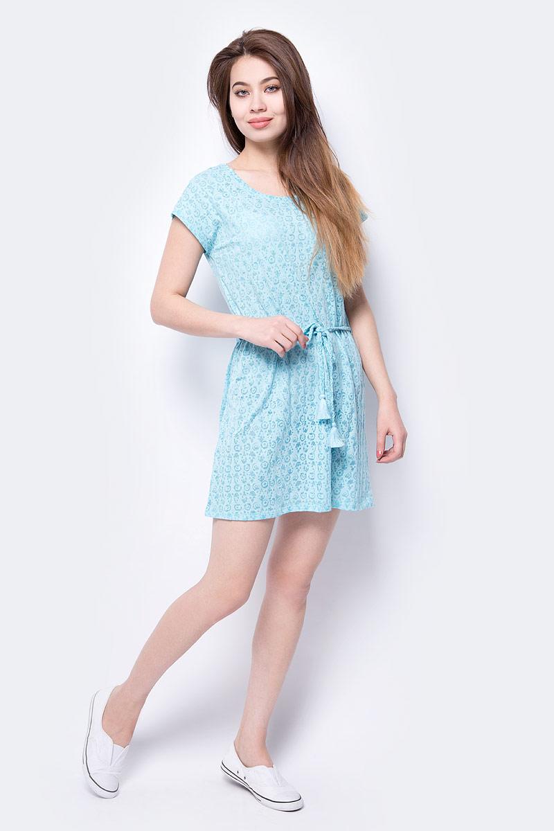 Платье Icepeak, цвет: голубой. 954762667IV_334. Размер 40 (46)954762667IV_334Платье Icepeak свободного кроя выполнено из легкой воздушной ткани с оригинальным узором. Модель средней длины с круглым вырезом горловины, без рукавов.