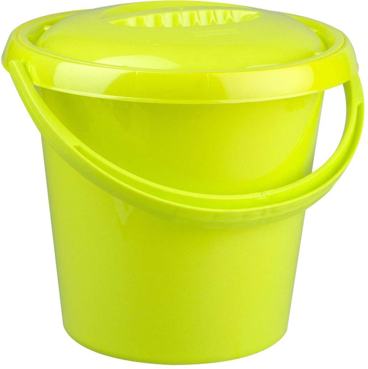 Ведро Plast Team Ampari, с крышкой, цвет: лаймовый, 10 л