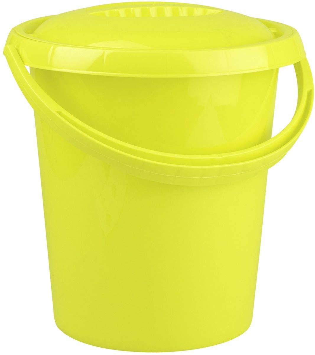 Ведро Plast Team Ampari, с крышкой, цвет: лаймовый, 12 л