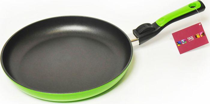 Сковорода SKK Titanium Light, со съемной ручкой, высота стенок 4 см, цвет: зеленый. Диаметр 28 см