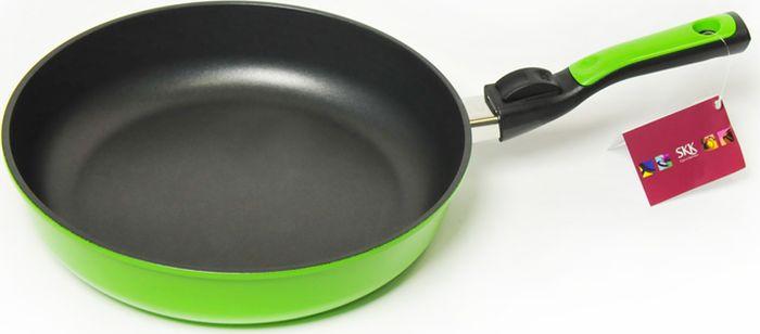 Сковорода SKK Titanium Light, со съемной ручкой, высота стенок 6,5 см, цвет: зеленый. Диаметр 24 см