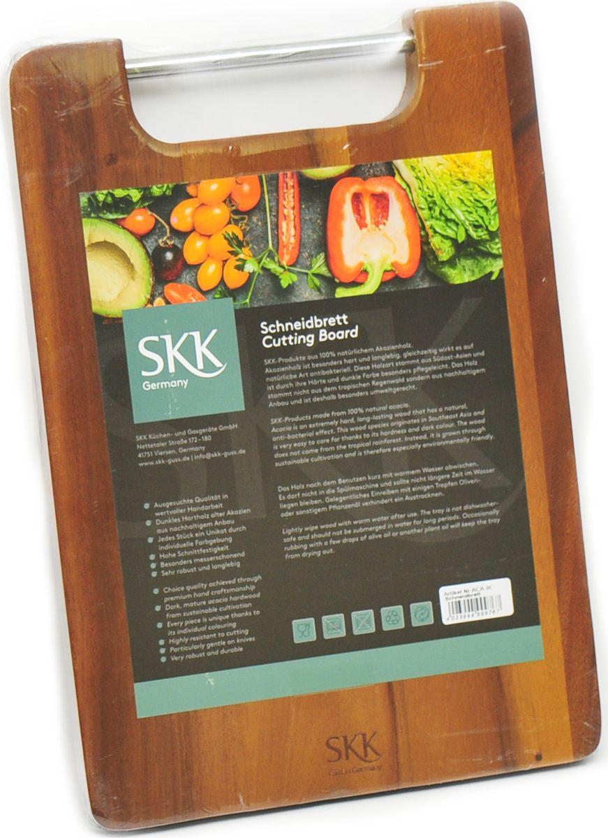 Доска разделочная SKK, прямоугольная, с металлической ручкой, цвет: темно-коричневый, 33 x 23 x 2 см