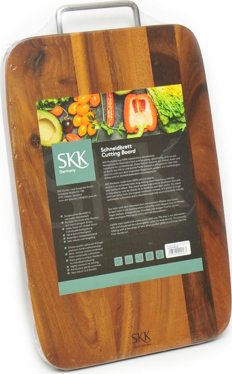 Доска разделочная SKK, с металлической ручкой, цвет: темно-коричневый, 41 x 25 x 2 см