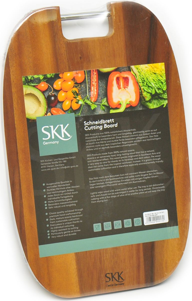 Доска разделочная SKK, овальная, с металлической ручкой, цвет: темно-коричневый, 35,5 x 23 x 2 см