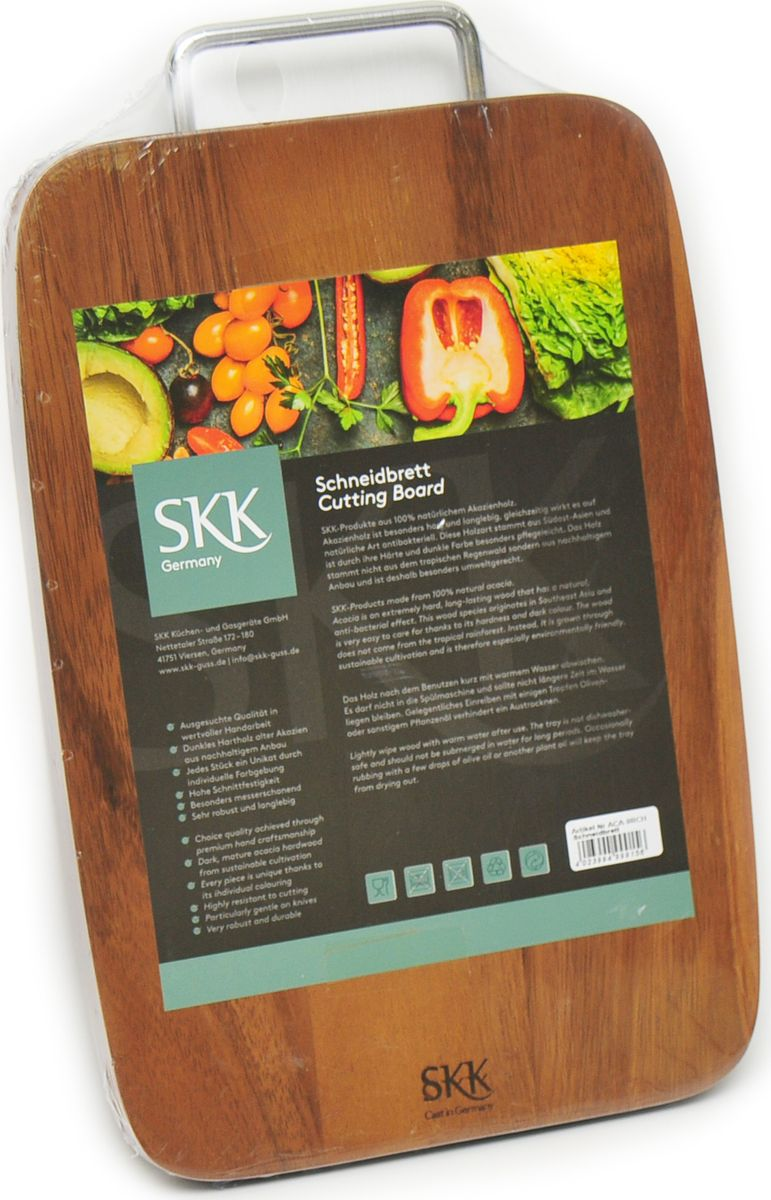 Доска разделочная SKK, с металлической ручкой, цвет: темно-коричневый, 36 x 23 x 2