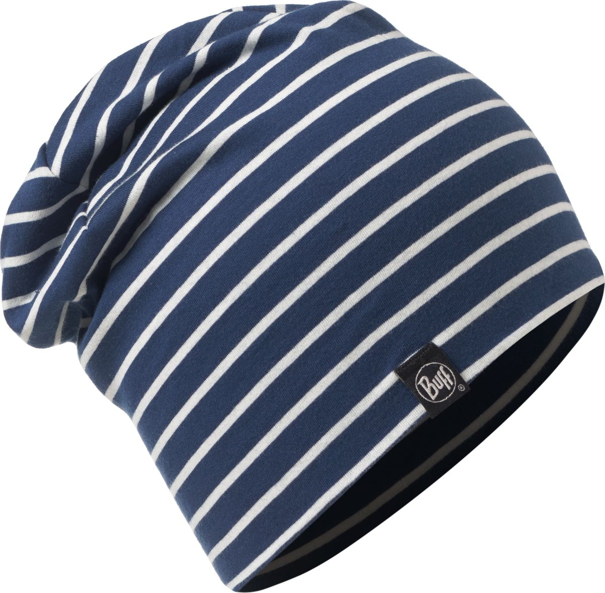 Шапка Buff Cotton Hat Denim Stripes, цвет: синий, белый. 117113.788.10.00. Размер 58117113.788.10.00Шапка-бини от Buff выполнена из мягкого хлопкового трикотажа с прнтом в полоску. Такая шапка обеспечит вам тепло и комфорт и прекрасно дополнит образ.