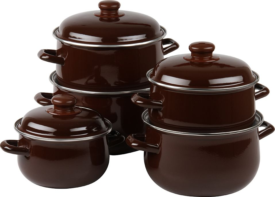 Набор посуды Pomi d'Oro, с крышкой, цвет: коричневый, 5 предметов кастрюли scovo кастрюля discovery 2 5 л с крышкой
