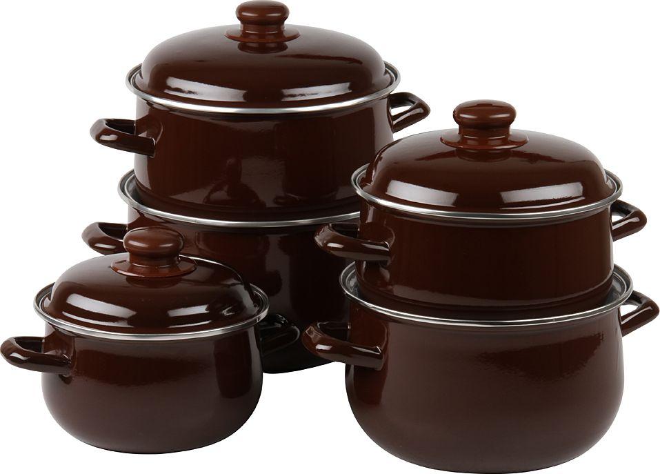 Набор посуды Pomi d'Oro, с крышкой, цвет: коричневый, 5 предметов ваза mughal s 18 х 18 х 24 см