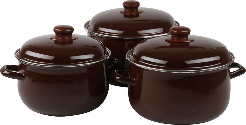 Набор посуды Pomi d'Oro, с крышкой, цвет: коричневый, 3 предмета ваза с крышкой 20 х 20 х 24 см