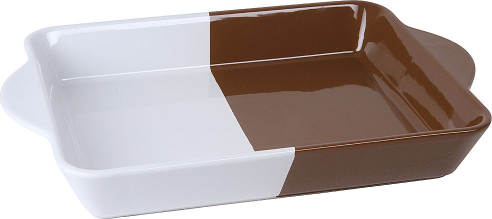 """Форма для запекания """"Pomi d'Oro"""", прямоугольная, с керамическим покрытием, цвет: белый, шоколадный, 3 л"""