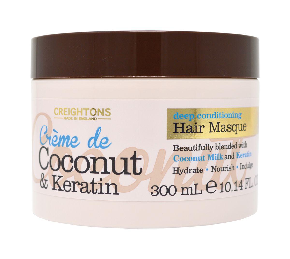 Creightons Маска для волос с кокосовым кремом и кератином Увлажнение + Питание, 300 мл lakonika bio укрепляющая маска для волос интенсивное увлажнение для сухих волос 300 мл