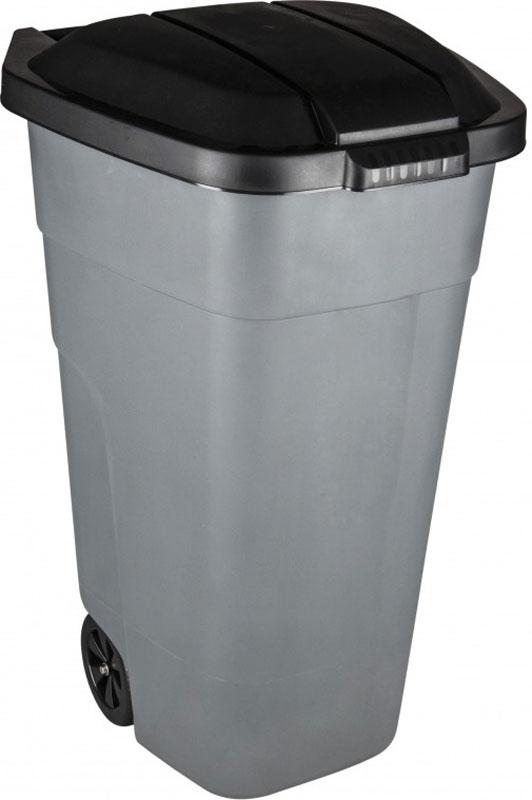 Бак для мусора Plast Team, с крышкой, на колесах, цвет: серый, 110 лPT9957СЕР-1РSБак предназначен для круглогодичного использования. Замок удерживает крышку в закрытом состоянии. При открытии крышка свисает с задней стороны бака, позволяя придвигать его к стене. Стальная ось в колесах выдерживает повышенные нагрузки. Колеса убираются в случае необходимости вставить несколько баков друг в друга.