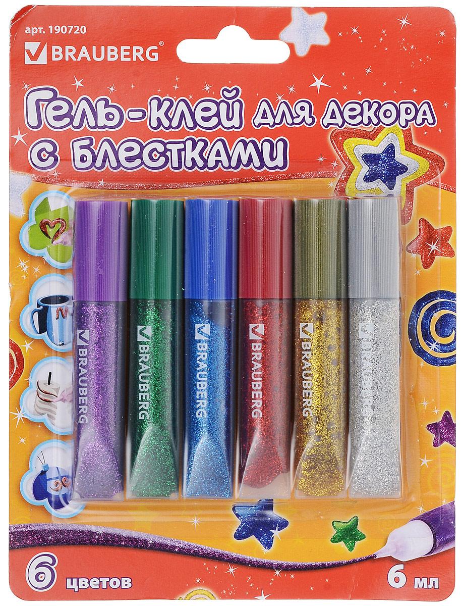 Brauberg Гель-клей с блестками 6 цветов гель клей с блестками kids series 5 цветов 190722