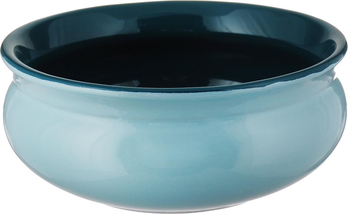 Тарелка глубокая Борисовская керамика Скифская, цвет: мятный изумрудный, 500 мл тарелка water melon 18см глубокая керамика