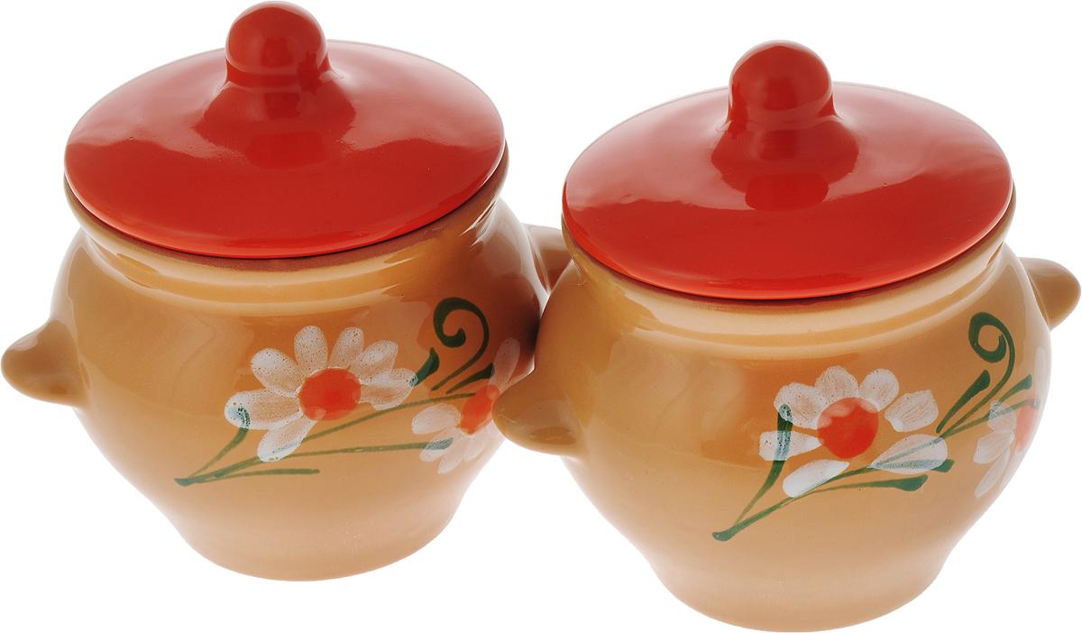Набор горшочков для запекания Борисовская керамика Стандарт, с крышками, цвет: бежевый, оранжевый, 500 мл, 2 шт