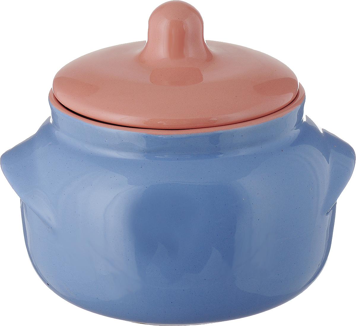 Горшочек для запекания Борисовская керамика Новарусса, цвет: голубой, розовый, 500 мл горшочек для жаркого борисовская керамика русский мрамор