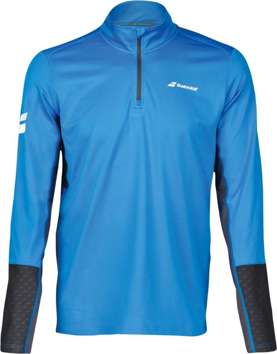 Лонгслив мужской Babolat Core 1/2 Zip, цвет: синий, темно-серый. 3MS18171-4024. Размер XXL (54) лонгслив мужской asics ls 1 2 zip jersey цвет темно синий 154589 1273 размер xl 50
