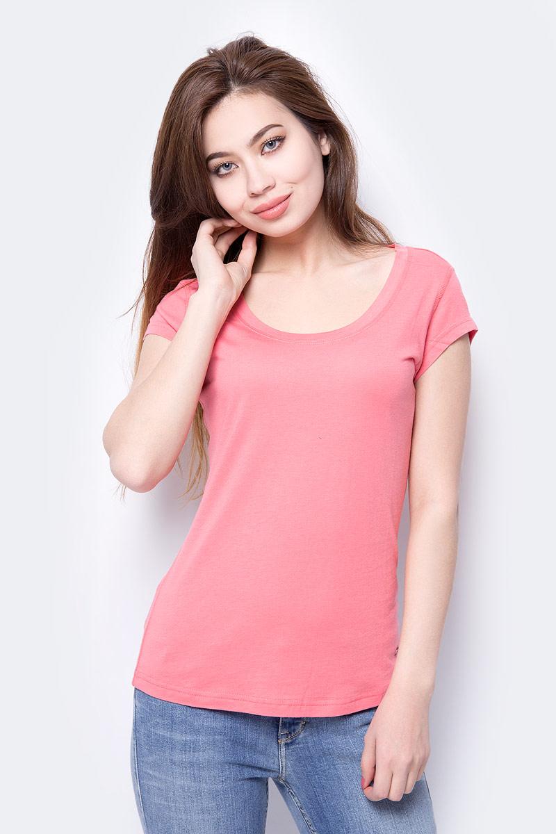 Футболка женская Mustang Basic T-Shirt, цвет: розовый. 1005477-8142. Размер L (48)1005477-8142Женская футболка от MUSTANG выполнена из хлопка и модала. Модель с короткими рукавами и круглым вырезом горловины.