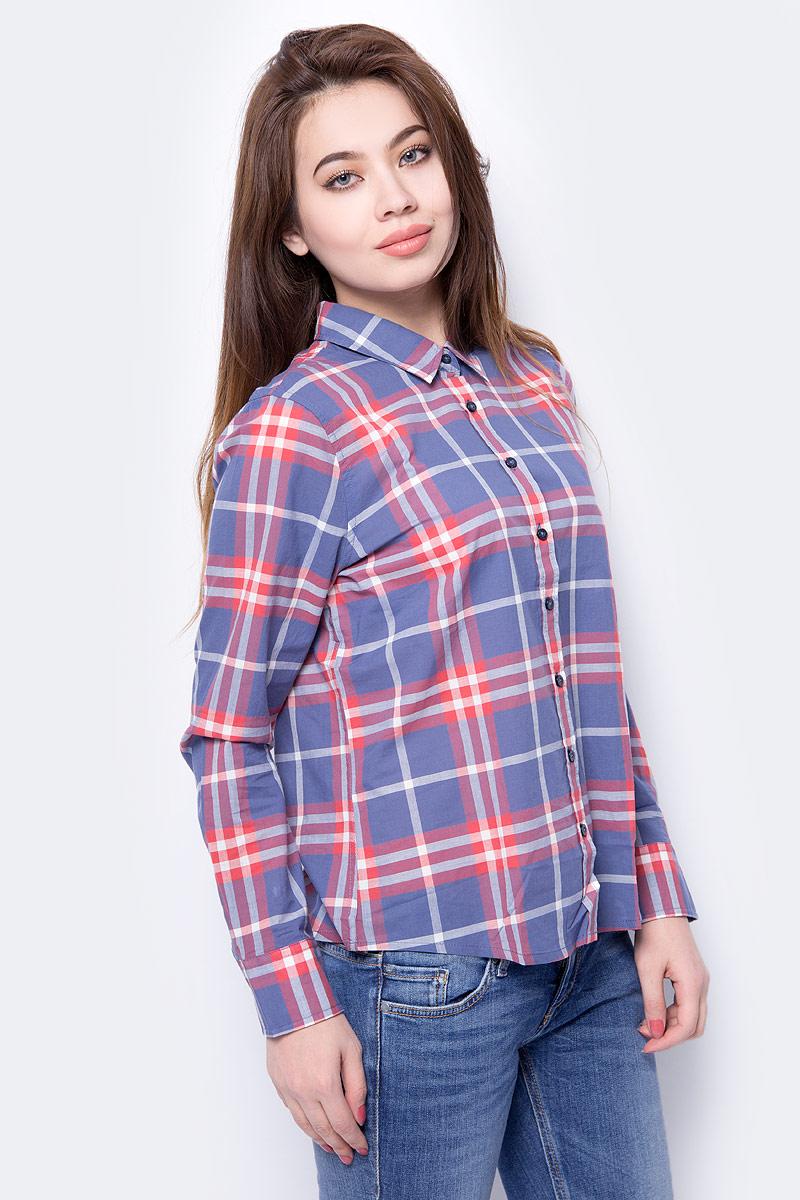 Блузка женская Mustang Basic Check Blouse, цвет: синий, красный. 1005090-10861. Размер 42 (48) блузка klingel цвет красный белый