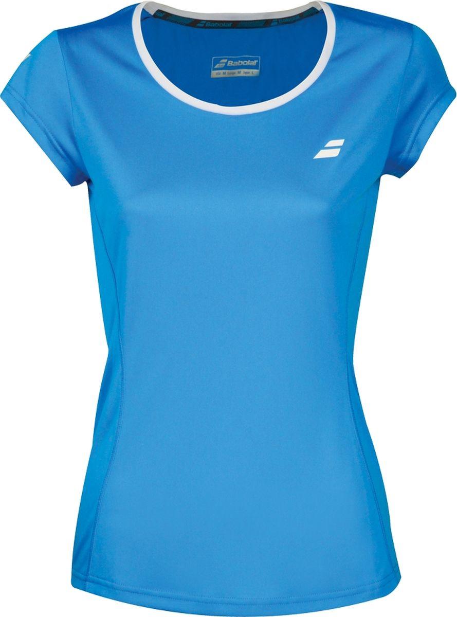 Футболка женская Babolat Core Flag Club, цвет: синий. 3WS18011-4013. Размер XS (44)3WS18011-4013Женская футболка Babolat Core Flag Club, выполненная из полиэстера, идеально подойдет для игры в теннис. Технология Fiber Dry позволяет быстро выводить влагу, повышая комфорт во время игры. Мягкие плоские швы не натирают кожу.Ткань с фильтром UPF 50 эффективно защищает от вредного солнечного излучения. Футболка с круглым вырезом горловины и короткими рукавами оформлена на груди логотипом бренда.