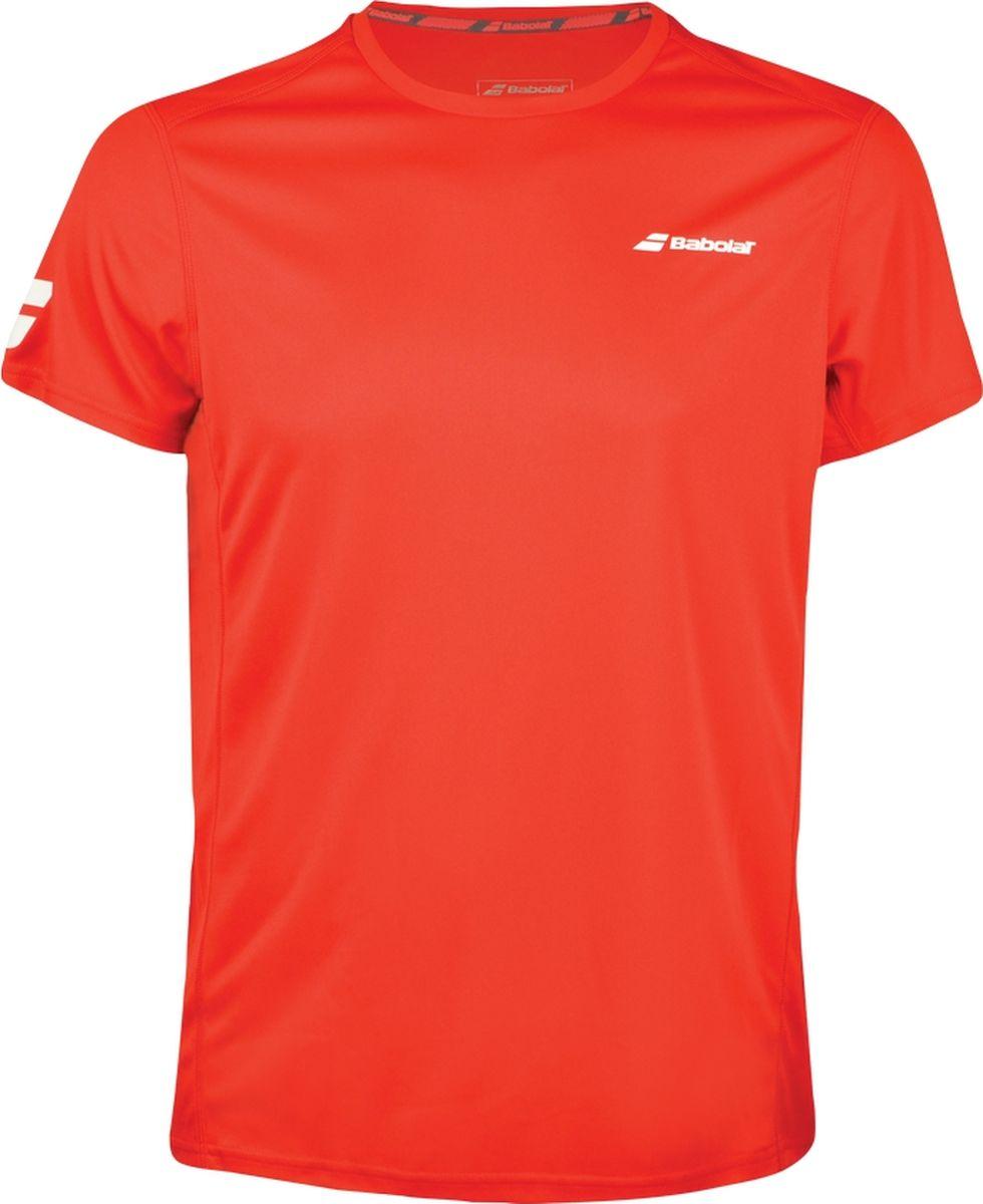 Футболка мужская Babolat Core Flag Club, цвет: красный. 3MS18011-5004. Размер L (50)3MS18011-5004Мужская футболка Babolat Core Flag Club, выполненная из полиэстера, идеально подойдет для игры в теннис. Технология Fiber Dry позволяет быстро выводить влагу, повышая комфорт во время игры. Мягкие плоские швы не натирают кожу.Ткань с фильтром UPF 50 эффективно защищает от вредного солнечного излучения. Футболка с круглым вырезом горловины и короткими рукавами оформлена на груди логотипом бренда.